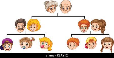 Arbre généalogique famille unique avec les chefs et les visages Banque D'Images