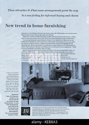1950 old vintage annonce magazine britannique original publicité Publicité g-mobilier plan du 1958 Banque D'Images