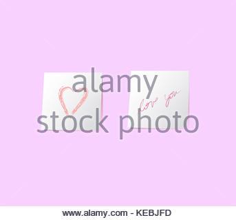 Deux notes adhésives blanches avec coeur et l'amour de l'écriture sur le mur vous rose background illustration. Banque D'Images