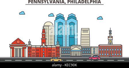 Pennsylvania, Philadelphia.ville horizon architecture, bâtiments, rues, silhouette, paysage, panorama, des repères, des icônes. editable coups. télévision design line concept d'illustration vectorielle.