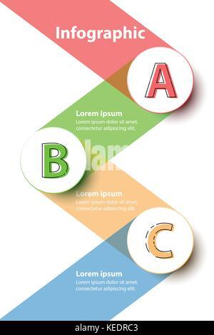 Sujets trois cercles colorés 3d avec bandes sur arrière-plan de site internet présentation couvrir poster vector Banque D'Images