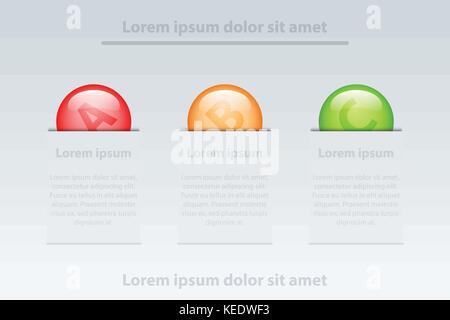 Trois sujets de cercles colorés en 3d insérer modèle blanc pour couvrir Site internet présentation poster vector Banque D'Images