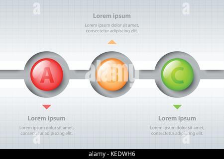 Trois sujets de cercles colorés en 3d dans la timeline sculpter white modèle pour site internet présentation couvrir Banque D'Images