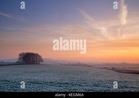 Un lever du soleil d'hiver dans la vallée wylye, Wiltshire. Banque D'Images