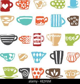 Tasses décoratives diverses icônes vectorielles. Banque D'Images