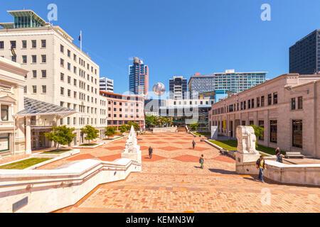 Avis de Civic Square, Wellington, Nouvelle-Zélande. Banque D'Images