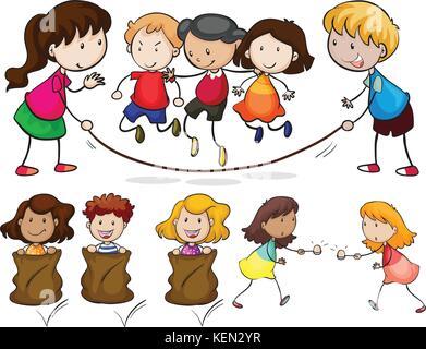 Illustration de nombreux enfants jouant Banque D'Images