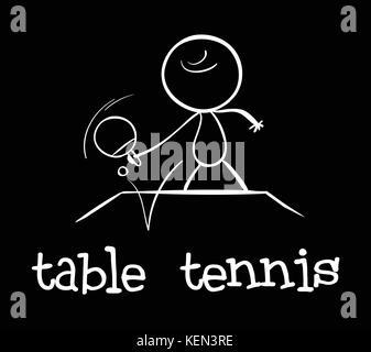 Illustration d'un homme à jouer au tennis de table Banque D'Images