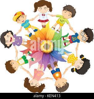 Les enfants se tenant la main autour de fleurs colorées Banque D'Images