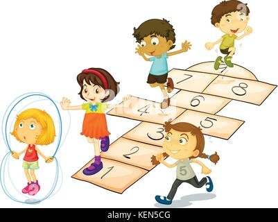 Illustration de nombreux enfants jouant à la marelle Banque D'Images