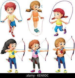 Illustration des enfants avec différents passe-temps sur un fond blanc Banque D'Images