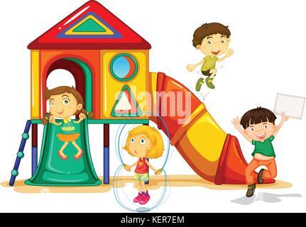 Illustration de nombreux enfants jouant sur une diapositive Banque D'Images