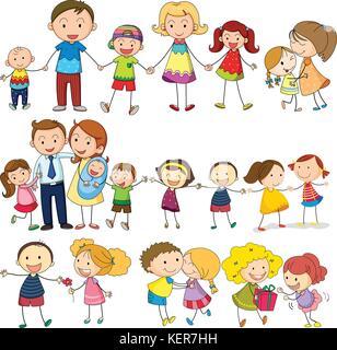 Illustration d'une famille aimante et heureuse sur un fond blanc Banque D'Images