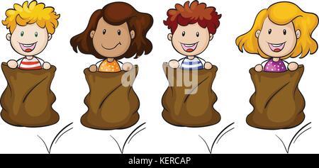 Illustration des quatre enfants en train de sauter à l'intérieur du sac sur un fond blanc Banque D'Images