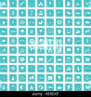 Aire de jeux 100 icons set bleu grunge Banque D'Images