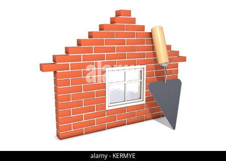 3d illustration: Schéma maison de briques rouges avec fenêtre en bois et verre appuyé contre elle avec une truelle Banque D'Images