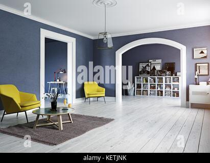 L'intérieur moderne. Le design scandinave style. Le rendu 3D concept illustration Banque D'Images