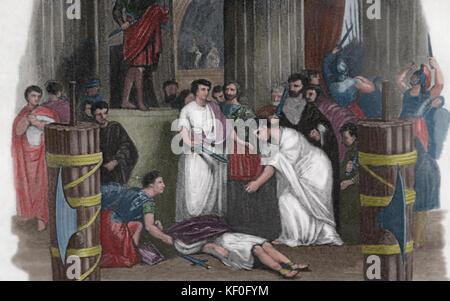 La mort de Jules César, 44 av. gravure, 19ème siècle. couleur. Banque D'Images