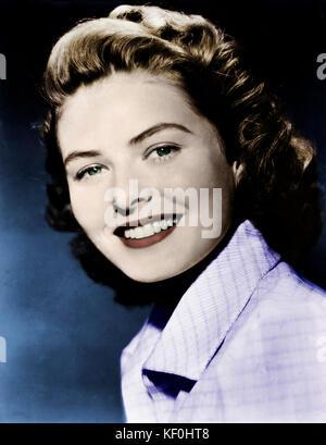 Ingrid Bergman - star du cinéma suédois. 29 août 1915 - 29 août 1982. Publicité photo.