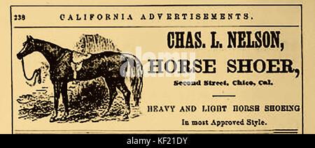 1877 - PUBLICITÉ POUR NOUS JOINDRE Historique Charles L. Nelson , shoer cheval de la deuxième rue, Chico, (ville Banque D'Images
