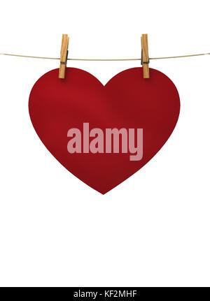 Coeur rouge suspendu à une chaîne pinces à linge épinglé, un concert pour la Saint-Valentin Banque D'Images