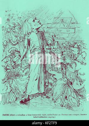 """""""Franz Liszt avec sa femelle d'admirateurs après un concert'. Caricature publiée dans 'Bolond Istók', le 25 mars Banque D'Images"""