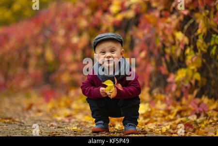 Petit enfant heureux boy wearing hat, écharpe et pull se trouve dans park et tient dans ses mains la feuille jaune Banque D'Images