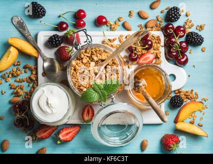 Les ingrédients du petit-déjeuner sain Banque D'Images