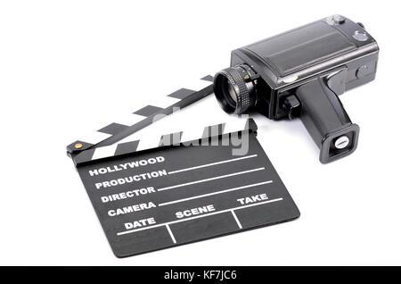 Ancien appareil photo et Movie clapper board, isolé , film concept de branche Banque D'Images