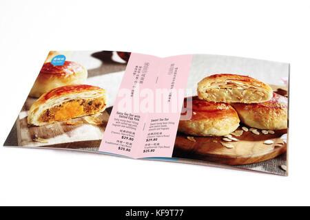 Thye Moh Chan brochure montrant Mooncakes Teochew - salé Tau avec R-D'Œuf salé et sucré Sar Tau