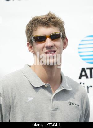 Médaillé d'or olympique de natation Michael Phelps lors d'une apparition promotionnelle pour AT&T Communications Banque D'Images