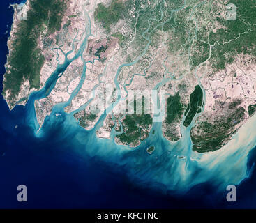 Delta du Fleuve Irrawaddy et littoral adjacent à l'est, autour du Golfe de Martaban, Birmanie. Banque D'Images