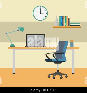 Home office bureau de travail, de l'intérieur de travail. ordinateur portable sur 24 près de présidence, horloge, étagère-vecteur illustration design plat.