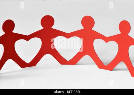 Chaîne humaine - l'unité et l'amour concept Banque D'Images