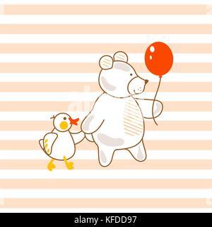 Cute Bear et de canard rose amis vector illustration pour les vêtements imprimé à rayures.