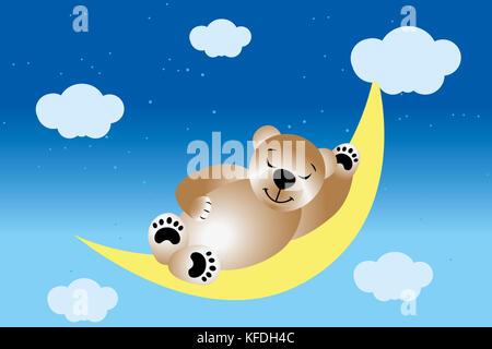 Teddy dormir sur la lune dans le ciel de nuit avec les étoiles et les nuages Banque D'Images
