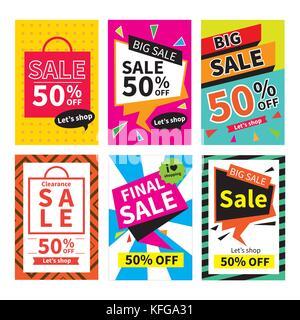 Site web de vente de modèles de page.Les médias sociaux bannières pour les achats en ligne. illustrations vectorielles Banque D'Images