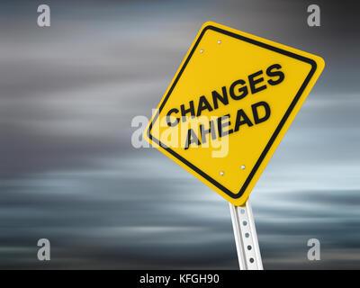Changements à venir , l'image générée par ordinateur. 3D render. Banque D'Images