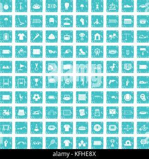 Aire 100 icons set bleu grunge Banque D'Images