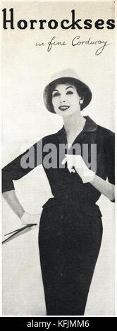 1950 old vintage advert original magazine anglais imprimer publicité Publicité Horrockses mode de dames du Royaume Banque D'Images