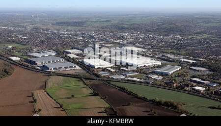 Vue aérienne de l'industrie dans le sud ouest de Burton-on-Trent, Royaume-Uni Banque D'Images