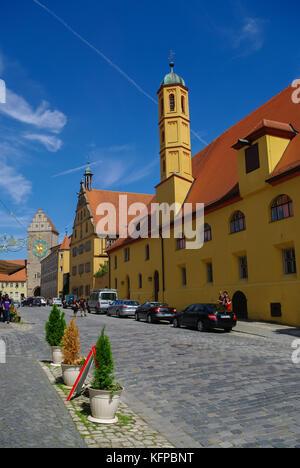 Crailsheim, Allemagne - le 28 août 2010: Street View de Dinkelsbuhl, l'un des archétype de villes sur la route Banque D'Images