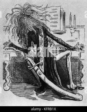 Franz Liszt au piano - caricature de Marcellin Desboutin, Marcellin (Gilbert 1823 - 1902) publié 12 mars 1855 dans Banque D'Images