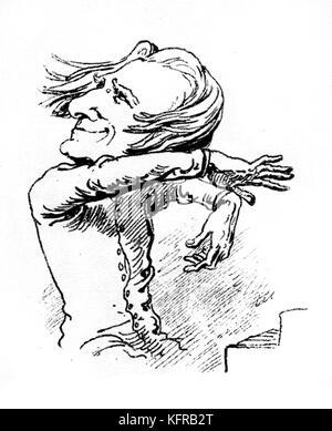 Franz Liszt - caricature. Publié dans le Borsszem Janko, le 6 mars 1873. Liszt ('le roi soleil') dans diverses poses Banque D'Images