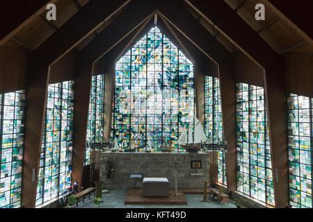 Vue de l'intérieur de la chapelle Notre Dame du Bon Port, St Valery en Caux, Normandie, France, Europe Banque D'Images