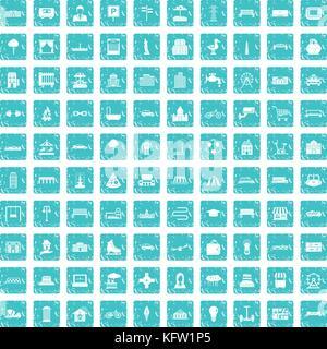 100 icônes urbaines set bleu grunge Banque D'Images
