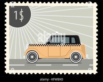Timbre-poste avec retro voitures de taxi. Vector illustration Banque D'Images