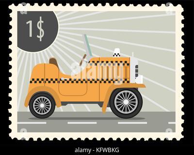 Timbre-poste avec retro voitures taxi. vector illustration Banque D'Images