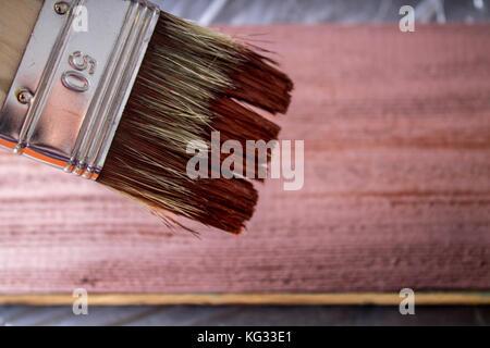 Badigeonner avec de la peinture à la main. un homme bleu peint sur un pinceau marron. Banque D'Images