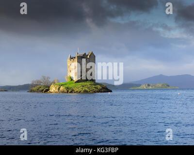 Château de stalker dans la lumière du matin, highlands, Scotland Banque D'Images